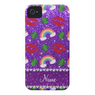 Beijo roxo dos arcos-íris dos trevos do brilho do capa de iPhone 4 Case-Mate