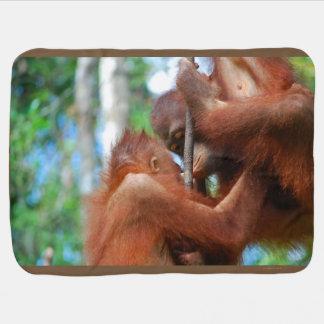 Beijos do animal do orangotango cobertores de bebe