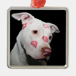 Beijos do batom do amor para o cão de Pitbull Enfeites Para Arvore De Natal