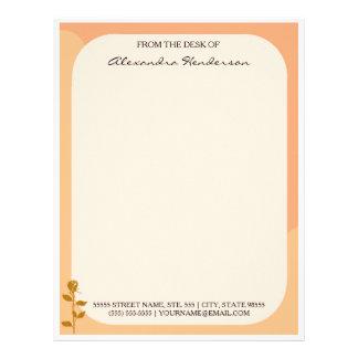 Beira curvada da laranja rosa elegante com nome papel timbrado