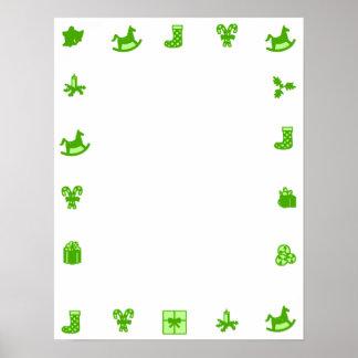 Beira decorativa do verde vazio do poster do Natal