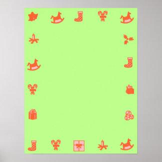 Beira decorativa vermelha do poster vazio verde do