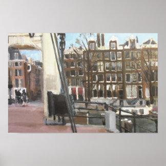 Belas artes das casas da ponte e do canal de poster