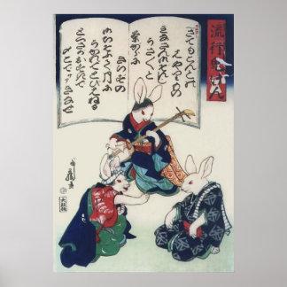 Belas artes epidémicas de Kuniyoshi do coelho de Poster