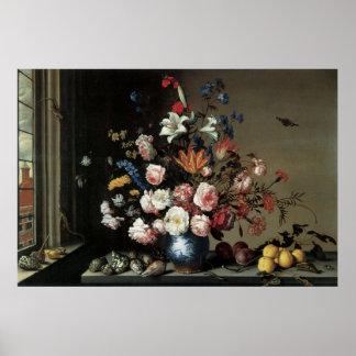 Belas artes florais com o poster de Lillies dos ro