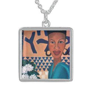 Beleza africana 1 colar de prata esterlina