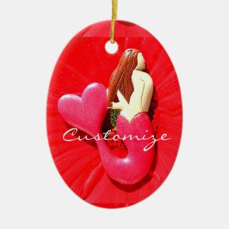 beleza coração-atada vermelho da sereia ornamento de cerâmica oval