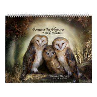 Beleza no calendário da arte dos pássaros da