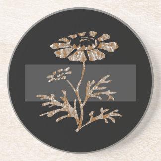 Beleza preta floral gravada prata do ouro n porta copos de arenito
