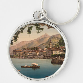 Bellagio mim, lago Como, Lombardy, Italia Chaveiro Redondo Na Cor Prata