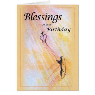Bênçãos do aniversário, religiosas cartão
