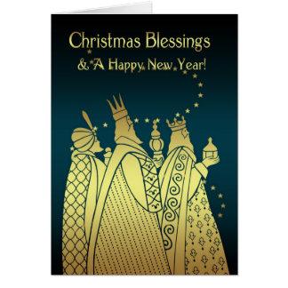 Bênçãos do Natal - três homens sábios - efeito do Cartão Comemorativo