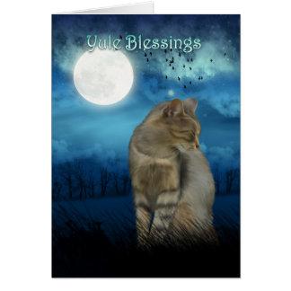 bênçãos do yule com o gato no luar cartão comemorativo