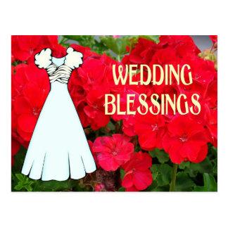 Bênçãos, vestido e flores do casamento cartão postal