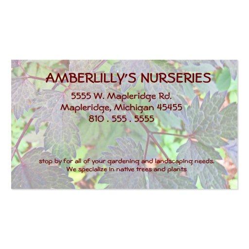 Berçário e fonte de jardinagem cartao de visita