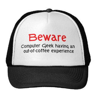 Beware o chapéu do geek do computador boné