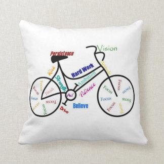 Bicicleta, ciclo, palavras inspiradores travesseiro de decoração