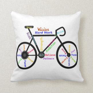 Bicicleta, ciclo, palavras inspiradores travesseiros de decoração