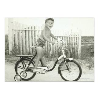 Bicicleta da equitação da menina convite 12.7 x 17.78cm