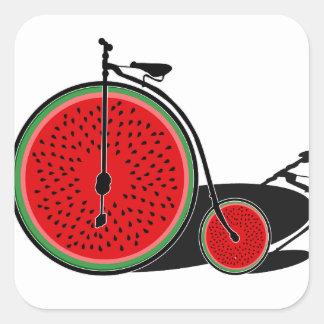 Bicicleta da melancia adesivo quadrado