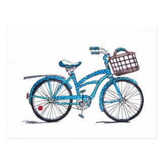 Bicicleta das bolinhas da aguarela cartão postal