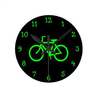 Bicicleta do verde limão relógio redondo