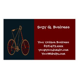 Bicicleta do vermelho azul da velha escola da cartão de visita