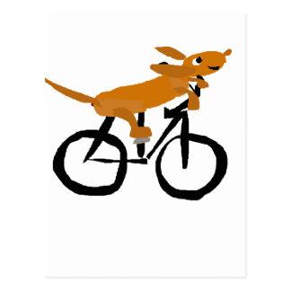 Bicicleta engraçada da equitação do Dachshund Cartão Postal