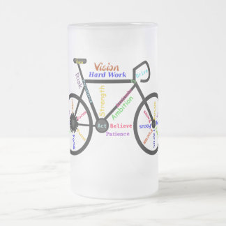 Bicicleta inspirador, ciclo, Biking, palavras do Caneca De Vidro Fosco