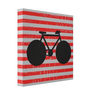 bicicleta preta moderna & listras vermelhas impressão em tela