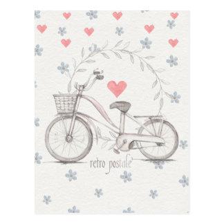 Bicicleta retro com cesta dianteira cartão postal