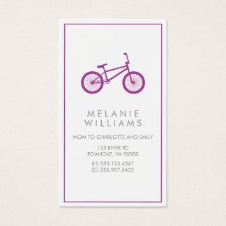 Bicicleta roxa do hipster cartão de visitas