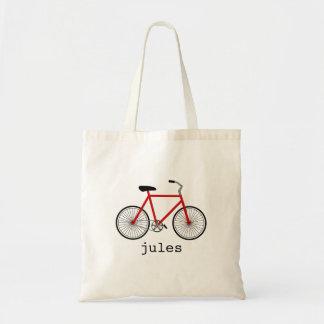 Bicicleta vermelha saco personalizado sacola tote budget