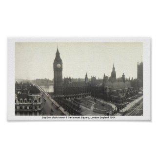 Big Ben & o parlamento Londres quadrada 1904 Poster