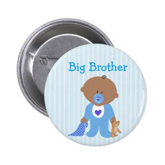 Big brother azul a ser botão do chá de fraldas bóton redondo 5.08cm