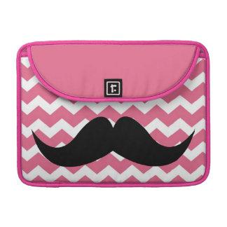 Bigode chique bonito cor-de-rosa do teste padrão d bolsas para MacBook pro