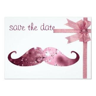 Bigode cor-de-rosa engraçado de Bling Convite 12.7 X 17.78cm