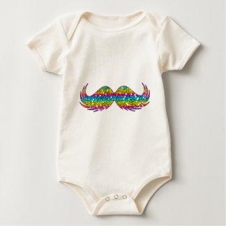 Bigode do brilho do arco-íris macacãozinho para bebê