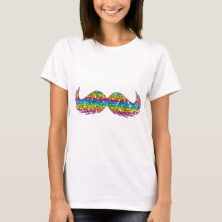 Bigode do brilho do arco-íris t-shirts