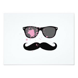 Bigode e óculos de sol engraçados convite 13.97 x 19.05cm