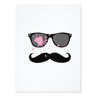 """Bigode e óculos de sol engraçados convite 16.51"""" x 22.22cm"""