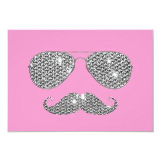 Bigode engraçado do diamante com vidros convite 8.89 x 12.7cm