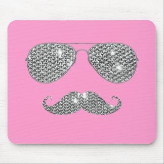 Bigode engraçado do diamante com vidros mouse pad