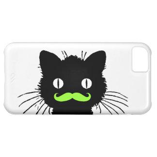 BIGODE ENGRAÇADO PRETO RETRO DO VERDE LIMÃO DO CAT CAPA PARA iPhone 5C