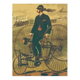 Bigode gigante do cavalheiro do triciclo do cartão postal