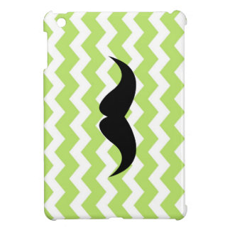 Bigode preto bonito verde do teste padrão de zigue iPad mini capas