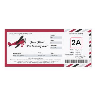 Bilhete plano da passagem de embarque do convite personalizado