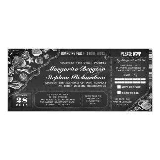 Bilhetes da passagem de embarque do casamento do convite 10.16 x 23.49cm