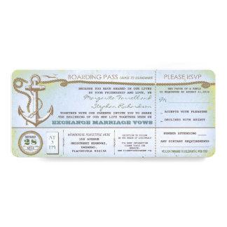 """bilhetes do passagem-vintage do embarque do convite 10.16"""" x 23.49cm"""