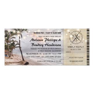 "Bilhetes tropicais do casamento de praia do convite 10.16"" x 23.49cm"